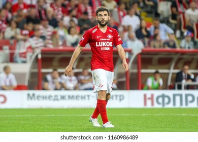 Moscow, Russia - August 14, 2018: Player of Spartak Georgi Dzhikiya in action during the UEFA Champions League Third qualifying round, between FC Spartak vs PAOK at Otkritie Arena