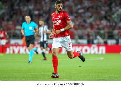 Moscow, Russia - August 14, 2018: Player of Spartak Samuel Gigot in action during the UEFA Champions League Third qualifying round, between FC Spartak vs PAOK at Otkritie Arena