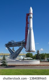 """Moscow, Russia - August 14, 2018: Copy of space rocket """"Vostok"""" at VDNH"""