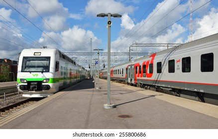 MOSCOW, RUSSIA - AUGUST 15,2014:Train Lev Tolstoy (named in honor of famous Russian writer Lev Tolstoy) is overnight train between Moscow and Finland. Firs direct train trip between was made in 1975