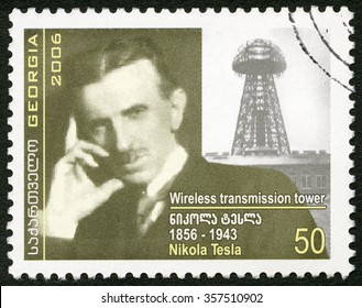 MOSCOW, RUSSIA - AUGUST 16, 2015: A stamp printed in Georgia shows Nikola Tesla (1856-1943), inventor, 2006
