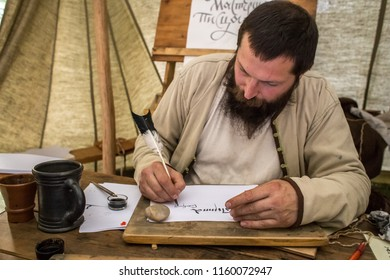 Moscow, Russia - August 16, 2018: Moscow and Muscovites. Writing of the 17th century at a festival times and eras in Gogolevsky Boulevard