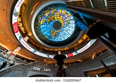 MOSCOW, RUSSIA - AUGUST 16, 2018: Interior of Okhotny ryad shopping mall on Manezhnaya Square, Moscow.