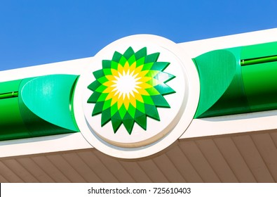 Moscow, Russia - August 17, 2017: BP - British Petroleum petrol station logo over blue sky. British Petroleum is a British multinational oil and gas company