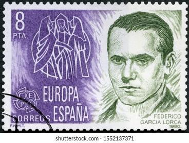 MOSCOW, RUSSIA - AUGUST 17, 2019: A stamp printed in Spain shows Federico del Sagrado Corazon de Jesus Garcia Lorca (1899-1936), Spanish poet, Europa, 1980