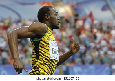 MOSCOW, RUSSIA - AUGUST 17: Usain Bolt runs at the World Athletics Championships on August 17, 2013 in Moscow