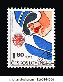 MOSCOW, RUSSIA - AUGUST 18, 2018: A stamp printed in Czechoslovakia shows Ski jump, 6th Winter Spartakiad serie, circa 1977