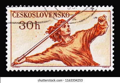 MOSCOW, RUSSIA - AUGUST 18, 2018: A stamp printed in Czechoslovakia shows Girl Throwing Javelin, Sports 1959 serie, circa 1959