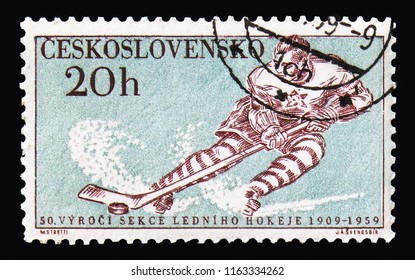 MOSCOW, RUSSIA - AUGUST 18, 2018: A stamp printed in Czechoslovakia shows Ice Hockey, Sports  serie, circa 1959