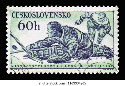 MOSCOW, RUSSIA - AUGUST 18, 2018: A stamp printed in Czechoslovakia shows Ice Hockey, Sports 1959 serie, circa 1959