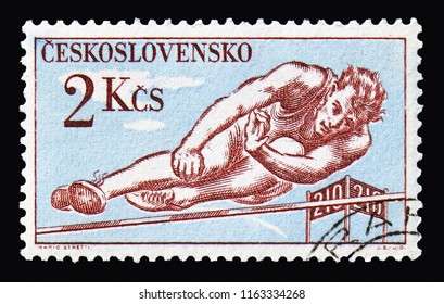 MOSCOW, RUSSIA - AUGUST 18, 2018: A stamp printed in Czechoslovakia shows High jump, Sports  serie, circa 1959