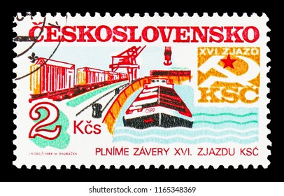 MOSCOW, RUSSIA - AUGUST 18, 2018: A stamp printed in Czechoslovakia shows Transportation, 16th Communist Party Congress Goals and Projects serie, circa 1984