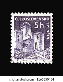 MOSCOW, RUSSIA - AUGUST 18, 2018: A stamp printed in Czechoslovakia shows Trencin castle, Strongholds and Castles serie, circa 1960