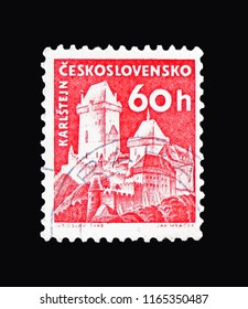 MOSCOW, RUSSIA - AUGUST 18, 2018: A stamp printed in Czechoslovakia shows Karlstejn castle, Strongholds and Castles serie, circa 1960