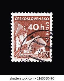 MOSCOW, RUSSIA - AUGUST 18, 2018: A stamp printed in Czechoslovakia shows Kremnica castle, Strongholds and Castles serie, circa 1960