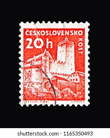 MOSCOW, RUSSIA - AUGUST 18, 2018: A stamp printed in Czechoslovakia shows Kost castle, Strongholds and Castles serie, circa 1960