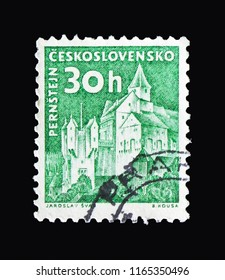 MOSCOW, RUSSIA - AUGUST 18, 2018: A stamp printed in Czechoslovakia shows Pernstejn castle, Strongholds and Castles serie, circa 1960