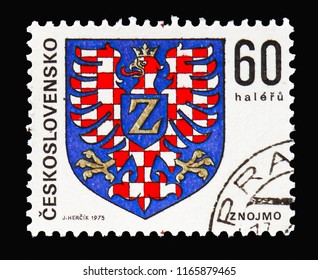MOSCOW, RUSSIA - AUGUST 18, 2018: A stamp printed in Czechoslovakia shows Znojmo, Coats of arms of the Czechoslovak cities serie, circa 1968