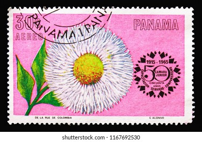 MOSCOW, RUSSIA - AUGUST 18, 2018: A stamp printed in Panama shows Bellis Perennis, Flowers: Chamber of Commerce, 50th Anniversary serie, circa 1966