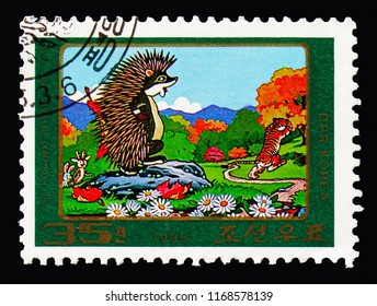 MOSCOW, RUSSIA - AUGUST 18, 2018: A stamp printed in Korea shows The Hedgehog Defeats the Tiger,  Fairy Tales serie, circa 1985