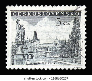 MOSCOW, RUSSIA - AUGUST 18, 2018: A stamp printed in Czechoslovakia shows Prague - Charles Bridge, serie, circa 1959