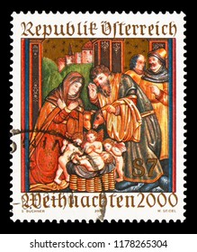 MOSCOW, RUSSIA - AUGUST 18, 2018: A stamp printed in Austria shows Altar sidewing, St. Martin's Church, Ludesch, Christmas serie, circa 2000