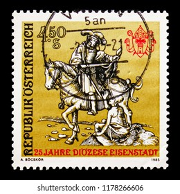 MOSCOW, RUSSIA - AUGUST 18, 2018: A stamp printed in Austria shows Saint Martin, patron saint of Burgenland, Eisenstadt serie, circa 1985