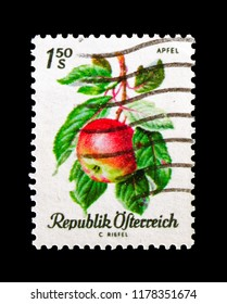 MOSCOW, RUSSIA - AUGUST 18, 2018: A stamp printed in Austria shows Apple (Malus sylvestris var. domestica), Fruits serie, circa 1966