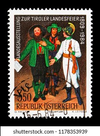 MOSCOW, RUSSIA - AUGUST 18, 2018: A stamp printed in Austria shows Tyrol militia & Austrian soldier, detail of a painting, Provincial Exhibition Tyrol serie, circa 1984