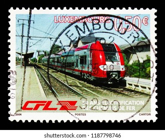MOSCOW, RUSSIA - AUGUST 18, 2018: A stamp printed in Luxembourg shows 50 Years of Electrification of the Luxembourg rail network, Railways serie, circa 2006