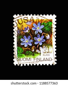 MOSCOW, RUSSIA - AUGUST 18, 2018: A stamp printed in Finland shows Liverwort (Hepatica Triloba), Regional flowers serie, circa 1992