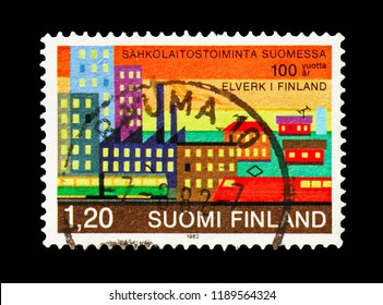 MOSCOW, RUSSIA - AUGUST 18, 2018: A stamp printed in Finland shows Energy consumption in a big city, 100 Years Electric Power Plants in Finland serie, circa 1982