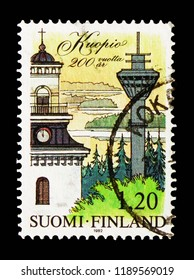 MOSCOW, RUSSIA - AUGUST 18, 2018: A stamp printed in Finland shows Kuopio Dome, Puijo Tower, Kallavesi Lake,200 Years City of Kuopio  serie, circa 1982