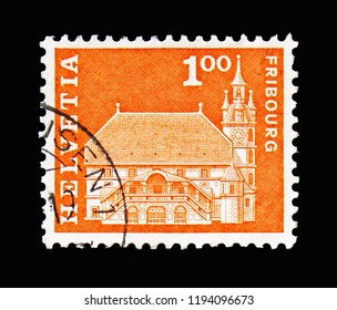 MOSCOW, RUSSIA - AUGUST 18, 2018: A stamp printed in Switzerland shows Townhall, Freiburg, Postal history motives and monuments serie, circa 1967