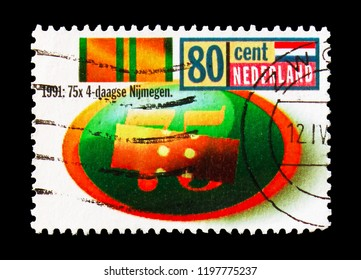 MOSCOW, RUSSIA - AUGUST 18, 2018: A stamp printed in Netherlands shows Nijmegen International Four Day Marches, serie, circa 1991