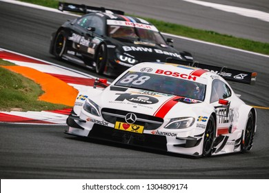 Moscow, Russia - August 19, 2016: Felix Rosenqvist driver of Mercedes-AMG DTM Team ART at DTM stage at Moscow Raceway