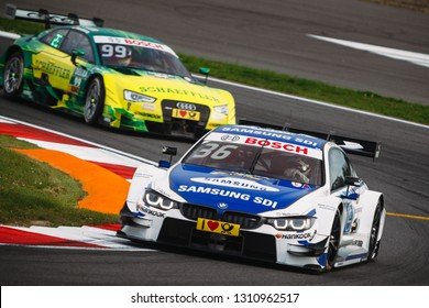 Moscow, Russia - August 19, 2016: Maxime Martin (BMW Team RBM) driving a BMW M4 DTM at DTM stage at Moscow Raceway