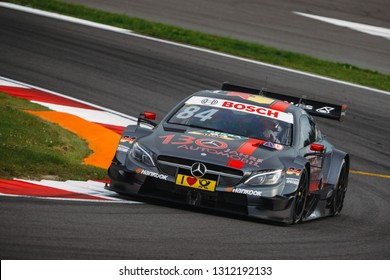 Moscow, Russia - August 19, 2016: Maximilian Gotz (Mercedes-AMG DTM Team HWA) driving a Mercedes-AMG C63 DTM at the DTM stage at Moscow Raceway