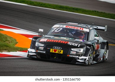 Moscow, Russia - August 19, 2016: Timo Scheider (Audi Sport Team Phoenix) driving a Audi RS5 DTM at the DTM stage at Moscow Raceway