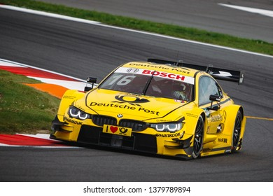Moscow, Russia - August 19, 2016: Timo Glock driver of BMW Team RMG at DTM stage at Moscow Raceway
