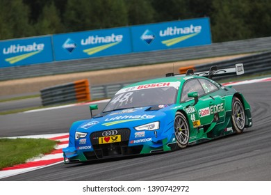 Moscow, Russia - August 19, 2016: Edoardo Mortara driver of Audi Sport Team Abt Sportsline at DTM stage at Moscow Raceway