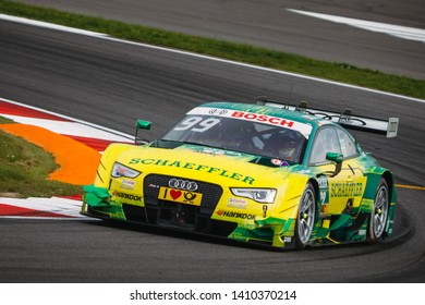 Moscow, Russia - August 19, 2016: Mike Rockenfeller (Audi Sport Team Phoenix) driving a Audi RS5 DTM at the DTM stage at Moscow Raceway