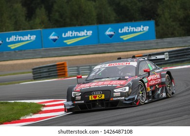 Moscow, Russia - August 19, 2016: Adrien Tambay (Audi Sport Team Rosberg) driving a Audi RS5 DTM at the DTM stage at Moscow Raceway