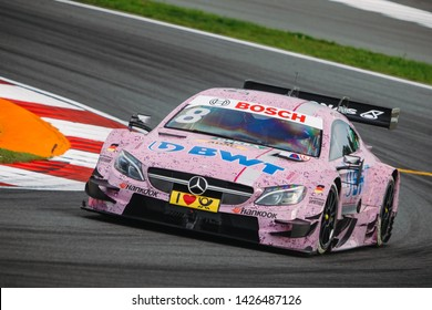 Moscow, Russia - August 19, 2016: Christian Vietoris (Mercedes-AMG DTM Team Mucke) driving a Mercedes-AMG C63 DTM at the DTM stage at Moscow Raceway