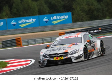 Moscow, Russia - August 19, 2016: Robert Wickens (Mercedes-AMG DTM Team HWA) driving a Mercedes-AMG C63 DTM at DTM stage at Moscow Raceway