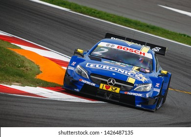Moscow, Russia - August 19, 2016: Gary Paffett (Mercedes-AMG DTM Team ART) driving a Mercedes-AMG C63 DTM at the DTM stage at Moscow Raceway