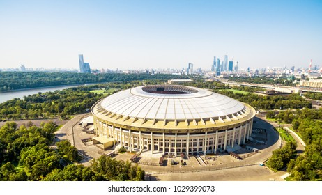Moscow, Russia - August 19, 2017: Aerial view of Luzhniki Stadium in Moscow. Luzhniki Stadium has been selected for the 2018 FIFA World Cup. Moscow landmark. Panorama of Moscow in the sunlight.