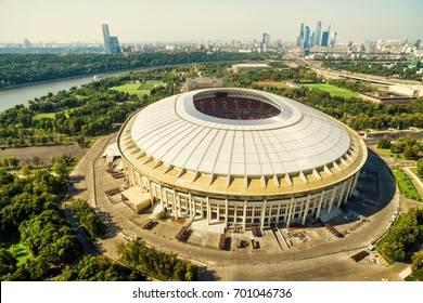 Moscow, Russia - August 19, 2017: Aerial panoramic view of the Luzhniki Stadium in Moscow. Luzhniki Stadium has been selected for the 2018 FIFA World Cup.
