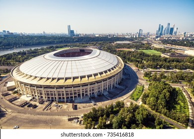 Moscow, Russia - August 19, 2017: Aerial view of the Luzhniki Stadium in Moscow. Luzhniki Stadium has been selected for the 2018 FIFA World Cup in Russia.