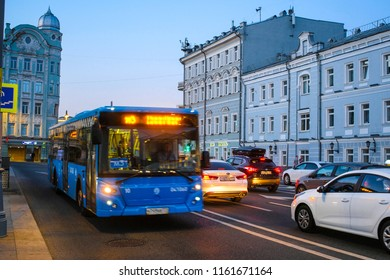 Moscow, Russia - August, 19, 2018: bus on night street in a center of Moscow